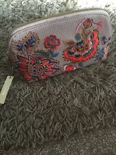 BNWT DARK BEIGE POLYURETHANE ACCESSORIZE ZIPPED  EMBROIDERED MAKE UP BAG