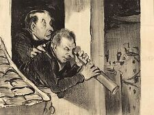 DAUMIER FRENCH MEN WINDOW TELESCOPE OLD ART PAINTING POSTER PRINT BB5168A