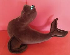 Large Comical Dark Brown Plush Seal with Big Smile