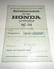 Betriebserlaubnis / Datenblatt / Typenschein Honda MBX 80 Typ HC 04 Stand 1/1983