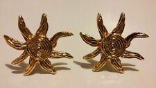 AUTHENTIC Yves Saint Laurent (YSL) Goldtone Flower Clip-On Earrings in Gift Box