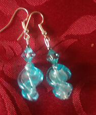 Lampwork drop dangle, silver plated earrings,twisted pale blue, acrylic bead(73)