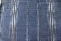 "Rare Antique Indigo Worn Heavy Cotton Stripe Faded Fabric c1880-1890~L-22""X74"""