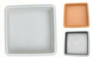 SQUARE PLANT POT SAUCER WATER TRAY BASE PLANTERS SMALL TO LARGE