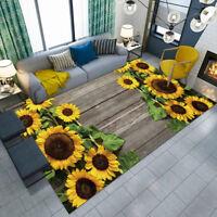 Wooden Board Sunflower Floor Mat Custom Area Rugs For Livingroom Bedroom Carpets