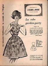 ▬► Patron Couture Supplément Écho de la Mode Robe Garden Taille 38 N°32 1960
