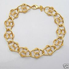 Love Knot Double Circle Wrapped Curb Bracelet REAL 14K Yellow Gold 6.3g All Size