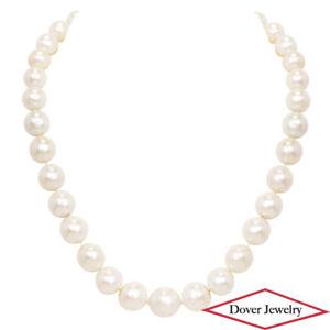 Estate 11-14.5mm Pearl 14K Gold 18'' Long Graduate Necklace 94.5 Grams NR
