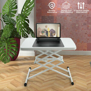 Square Plastic Folding Card Table Lifting Desk Height Adjustable White