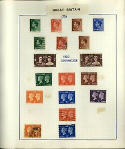 GB KEVIII-KGVI 1936-1940 Album Page Of Stamps #V18070