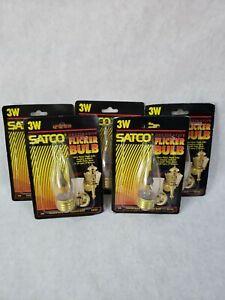 Satco S3757 120V 1/Card Medium Base 2-3-Watt Flicker Bulb, Clear Lot of 5