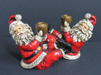 Vintage Santa Claus Candle Holders (Set of 2) Paper Mache Plaster Japan (C-1)