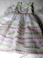 Girls DAVID CHARLES white floaty party DRESS age 7 8 years bridesmaid green