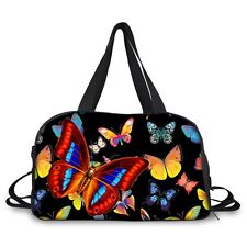 Fashion Butterfly Travel Tote Bag Women Sports Fitness Gym Yoga Duffle Bag Black