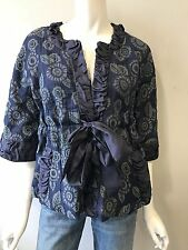 Marc by Marc Jacobs size 8 blue ruffle cardigan shirt jacket