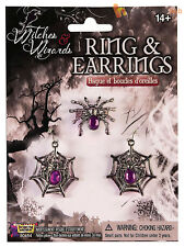 Ladies Spider Web Ring + Earrings Set Adults Halloween Fancy Dress Jewellery