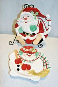 2 Fitz & Floyd  Plaid Christmas Cookie Canape Plates: Santa, and Snowman  MINT!