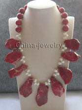 """N8273 - 21"""" white freshwater pearl + turquoise + 16mm red coral necklace - GP cl"""