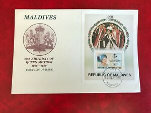 MALDIVES 1980 FDC QUEEN MOTHER 80TH BIRTHDAY MINISHEET