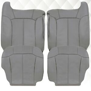 2000 2001 2002 Chevy Silverado Tahoe Suburban Leather Seat Covers in Gray-Pewter