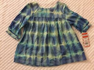 Girls' Size 4/5 Blue & Green Tie Dye Tunic Style Shirt-NEW WITH TAGS!