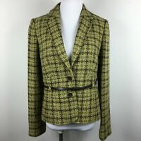 Philosophy Size 8 Blazer Jacket Brown Green 2 Button Belted Notch Collar Lined