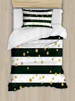Gold and White Twin Size Duvet Cover Set Bold Lines Dots with 1 Pillow Sham