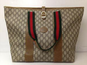 GUCCI Plus handbag GG Monogram Brown Tote Hand Bag Purse Auth