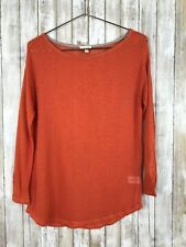 Soft JOIE Orange Cotton Open Knit Perforated Boat Neck Long Sleeve Top XS