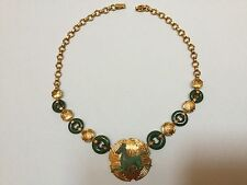 Sterling Silver Jade Franklin Mint Necklace Flying Horse of Gansu Pendant