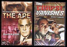 The Corpse Vanishes & The Ape (DVD) NEW; Bela Lugosi, Boris Karloff, Halloween