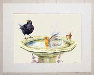"""Watercolour garden birds print of original painting, in 10"""" x 8"""" Mount"""