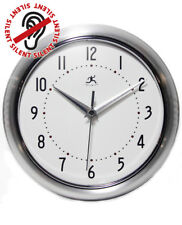 Silver Retro Wall Clock Infinity Instruments 10940/SV Decor