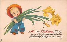 Birthday poem postcard boy carrying giant Daffodils flowers ca 1915