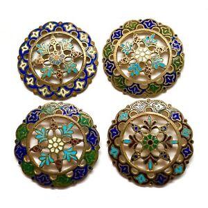 Antique Buttons ~ 4 Terrific 19th Century Pierced Gilt Champleve Enamel