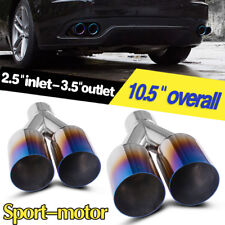 """Pair of Exhaust Tips 2.5"""" Inlet 3.5"""" Dual Outlet 10.5"""" Long Polished Burnt Blue"""