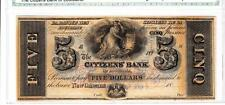 New Orleans, LA- Citizens' Bank of Louisiana $5 Superb Gem Uncirculated-WOW!