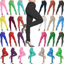 Womens Jeggings Ladies Fit Skinny Coloured Stretchy Trousers Jeans Size 8 26