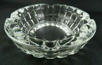 "Vintage Clear Glass Ashtray Pressed Glass Cubist Pattern 6"" Thick Heavy"