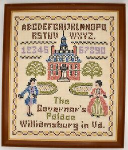 Cross Stitch Complete Governor's Palace Williamsburg VA Sampler 12.5x15 Framed