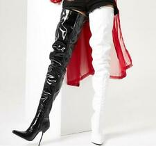 New Women Dancing Nightclub High Slim Heel Over Knee Thigh Boots Leather Shoes