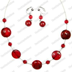 RED BEAD jewellery SET silver foil NECKLACE EARRINGS clip on/pierced GLASS beads