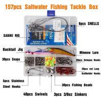 157pcs Saltwater Fishing Accessories Plastic Lures Hooks Swivel Kit Tackle Box