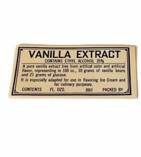 Pharmacy label vtg ephemera paper WW1 era WWI drugstore vanilla extract alcohol
