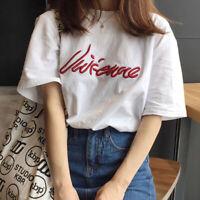 Fashion Women Summer Korean Tee Loose Round Neck Short Sleeve T- Shirt Blouse DR