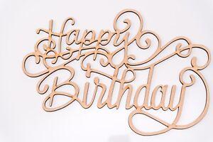 Wooden MDF Plaque - 'Happy Birthday' ornamental writing - Blank shape