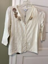 Joseph A Size Large Cardigan Sweater Ivory Lace Flowers NWT Pretty Ret. $68