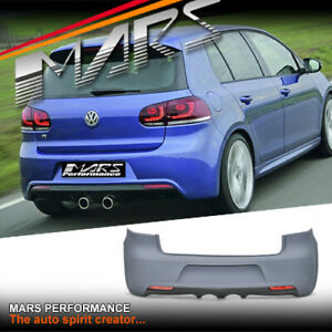 R20 Style Rear Bumper Bar & Twin Exhaust Outlet for VW Golf VI MK-6 Hatch & GTi