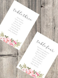 Handmade Personalised Wedding Table Plan Cards Header Cards DIY Floral Country