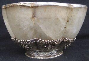 Antique Master Quality Handmade Tibetan 92.5% Silver Himalayan Crystal Pot Nepal